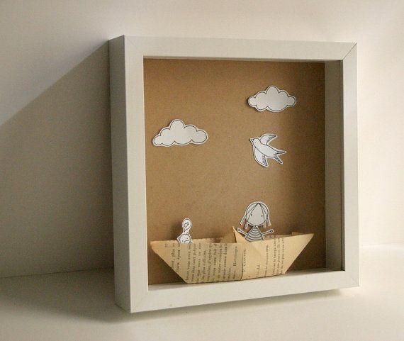 Caja diorama. Mi barco de papel - diorama de papel Original - Shadow box