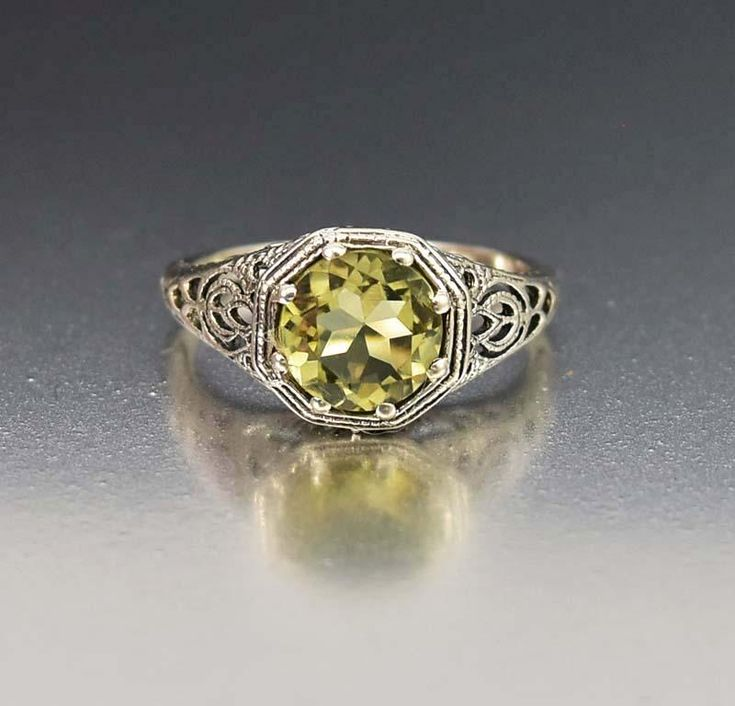 Green Amethyst Silver Filigree Ring Art Deco Style  #Ring #Classic #Style #Green #Sterling #Silver #Amethyst #Art #Deco #Filigree