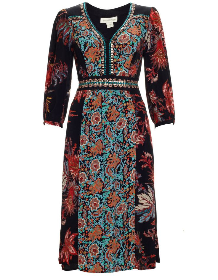 NEW Monsoon CLARA AMBER Floral Print Embroidered Sequin Dress 8 to 18 RRP £79