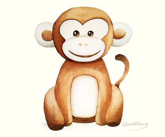 Watercolor Painting - Monkey illustration