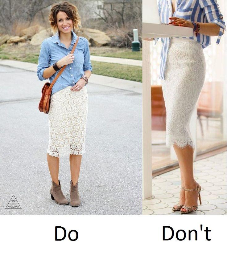 Казалось бы, образы похожи. Но нюансы: кружевная юбка слева обрезана по низу, дополнена ковбойскими ботильонами. Все это поддерживает рубашку и объединяет образ. Образ справа распадается, потому что женственный низ и неформальный расслабленный верх ничто не роднит.