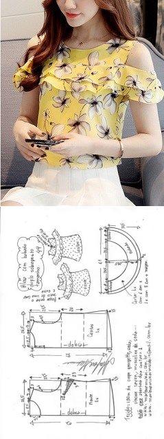 Blusa com babado sobreposto duplo e ombros vazados | DIY - molde, corte e costura - Marlene Mukai