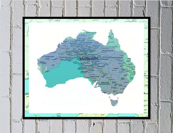 Melbourne map print digital download Aussie print by MadebyGia $4.50