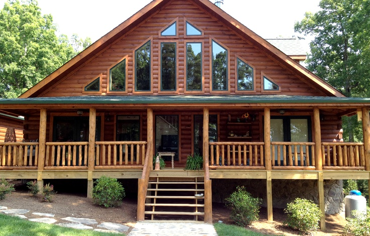 Banner elk log home series designed by blue ridge log for House with lots of windows