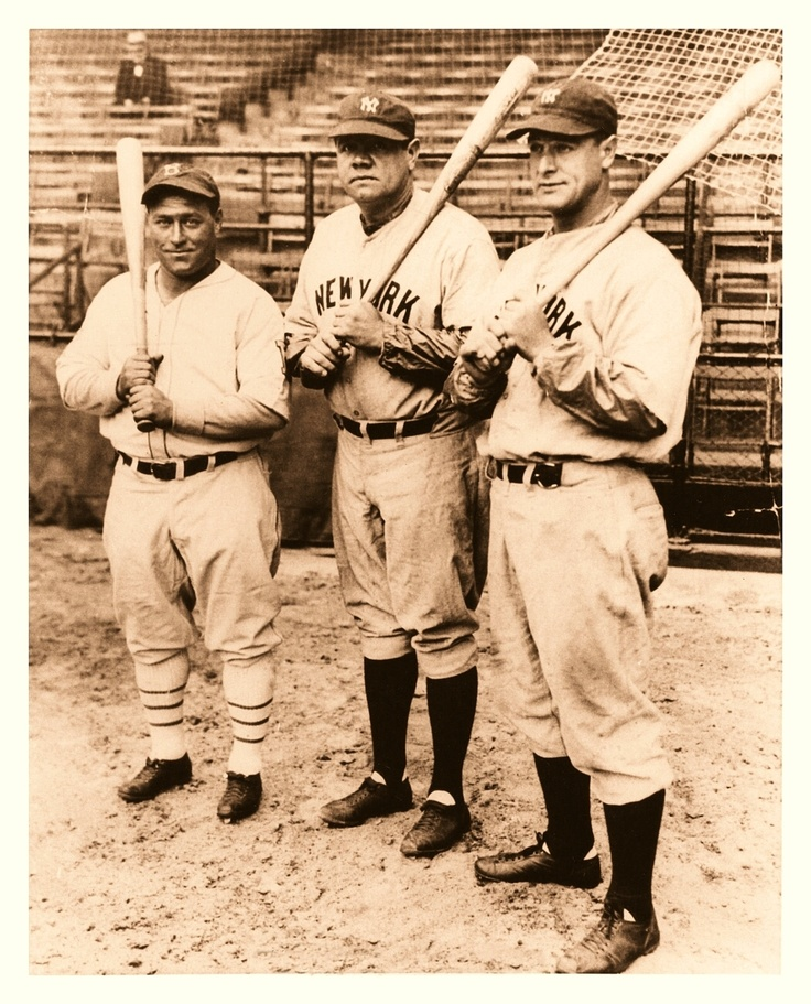 Hack Wilson, Brooklyn Dodgers, with Babe Ruth and Lou Gehrig, New York Yankees