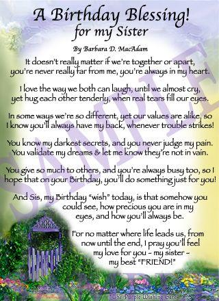 sister's birthday prayer | Affordable Inspirational Poem for Sister, birthday blessing gift