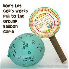 """Balloon Game for the story of Samuel   """"And Samuel grew, and the Lord was with him, and did let none of his words fall to the ground."""" 1 Samuel 3:19  Have your students blow up large balloons and write things on the balloons that God tells us to do. Help your children come up with ideas and write them on the board.  Use this activity to introduce the Bible lesson about Samuel Listening to God."""