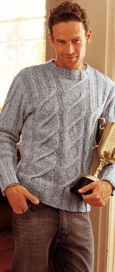 Мужской пуловер с косами спиралевидной формы. Косы подобно спирали закручиваются снизу вверх вдоль этого мужского пуловера, связанному по описанию и схеме из французского журнала.