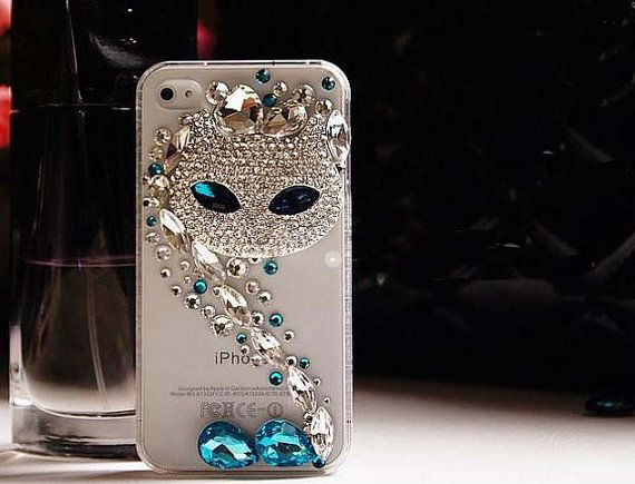 3D DIY Deco Kit Phone case Crystal Bling Wild Cat Blue by eSupply, $9.50