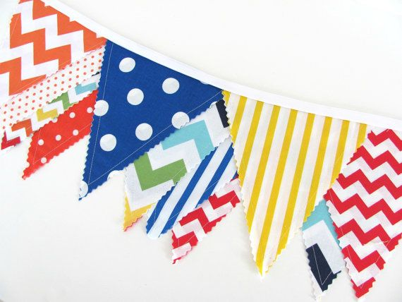Fabric Bunting Banner Primary Color Chevron Dots  by OvationStudio, $30.00