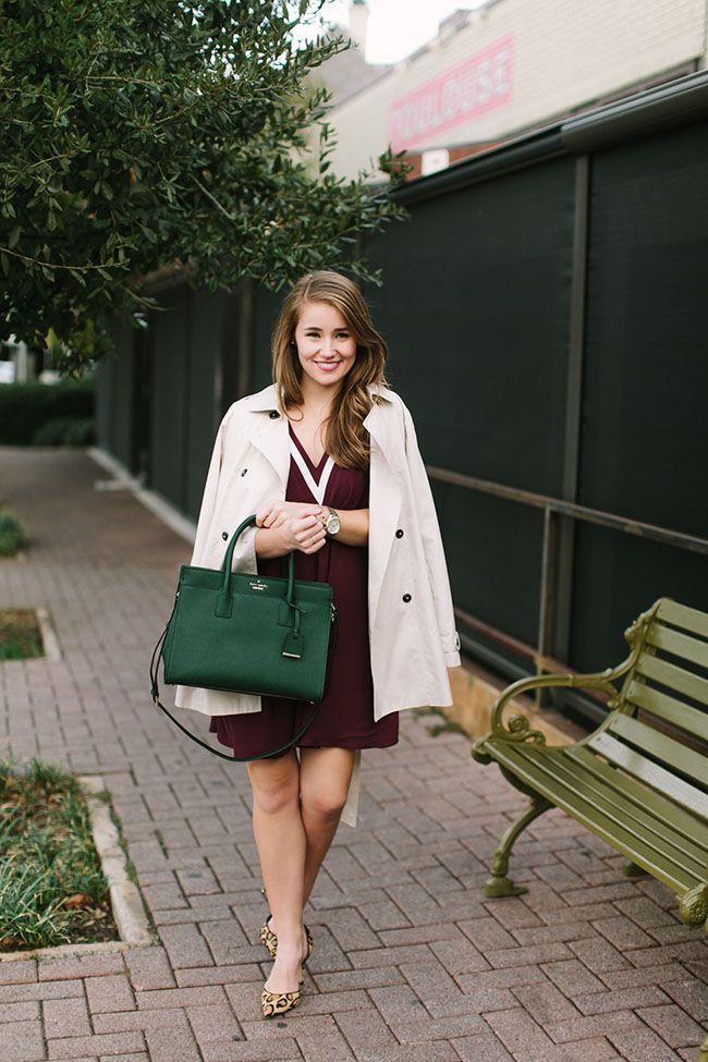ivy league, ivy league fashion, college girl, varsity fashion, kate spade candace street satchel, green purse, leopard pumps, sam edelman d'Orsay, trench coat
