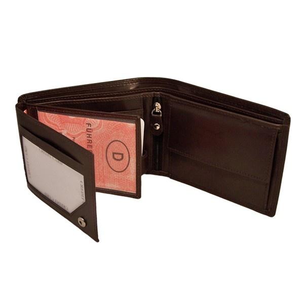 Een mooie portemonnee in een bruine kleur, gemaakt van echt leer.