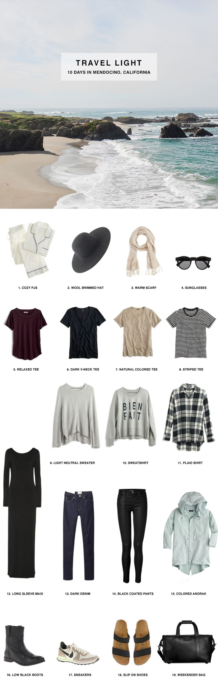 1. Cozy PJ's / 2. Wool Brimmed Hat / 3. Warm Scarf / 4. Sunglasses / 5. Relaxed Tee / 6. Dark V-Neck Tee / 7. Natural Colored Tee / 8. Striped Tee / 9. Light Neutral Sweater / 10. Bien Fait Sweatshirt