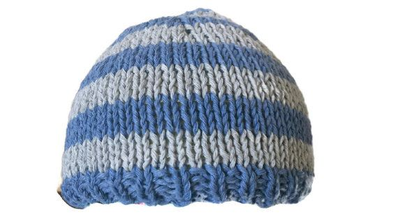 Cotton Beanie Hat Grey Blue Stripe Baby Adult Newborn Hand Knitted