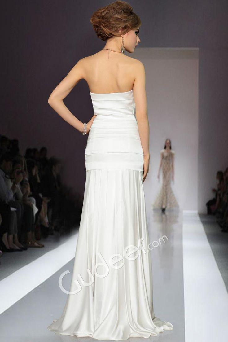 Strapless Criss-cross White Satin Evening Slim Long Formal Dress