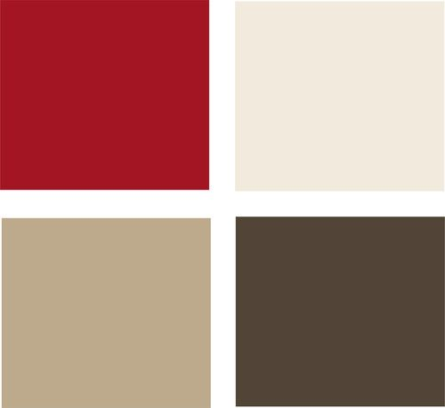 Example palette: This potential palette features a luscious, saturated red and a rich chocolate brown. Clockwise from top left (all from Glidden): Candy Apple, Swiss Coffee, Bittersweet Chocolate, and Soft Suede.