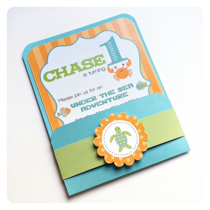Under the Sea Birthday Party. Handmade Signature Pocket Invitation- Set of 10. $27.50, via Etsy.