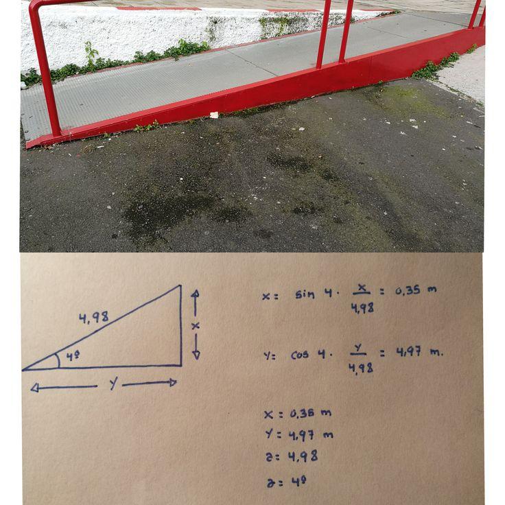 RAMPA 2 Localizada en Los Realejos( Avenida Canarias, el 99) La altura de esta rampa es de 0,35 m, y la longitud de 4,97 m, su ángulo de inclinación es de 4º y su pendiente es del 7%. Podemos decir que esta rampa si cumple con la normativa, a pesar de que exceda el 6% de inclinación que debe tener una rampa para facilitar el acceso a las personas discapacitadas.