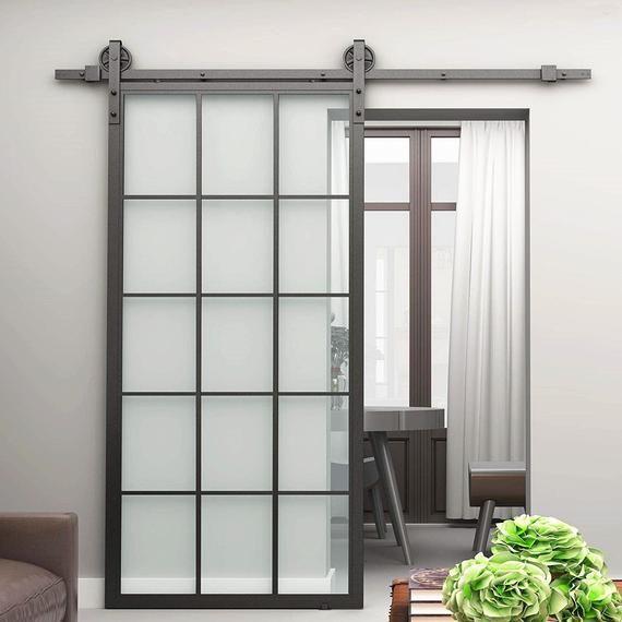 Diyhd 30 X 86 5 Inch Black Steel Framed Glass Barn Door Slab Etsy Glass Barn Doors Glass Doors Interior Sliding Glass Door