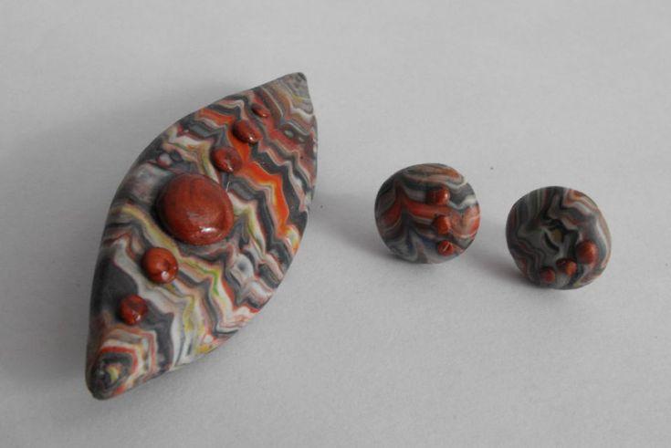 Imitation tissu Péruvien - polymer clay brooch and ,brosa si cercei argila…