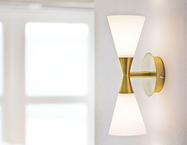 HARLEKIN DUO wall lamp, mid century design Denmark.  Opal glass with brass option.  List $127.