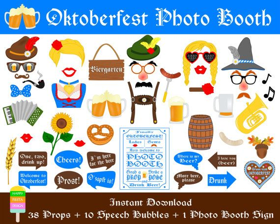 Oktoberfest Photo Booth Props–49 Pieces (38 props,10 speech bubbles,1 photo booth sign)-Printable German Beer Party Props-Instant Download