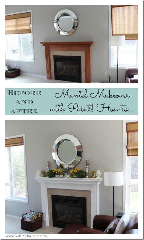 Painted Mantel - how to go from boring brown to fresh bright white! I show you step by step how I did this!