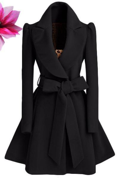 Pure Color Belt V-neck Bowknot Belt Long Sleeves Long Coat
