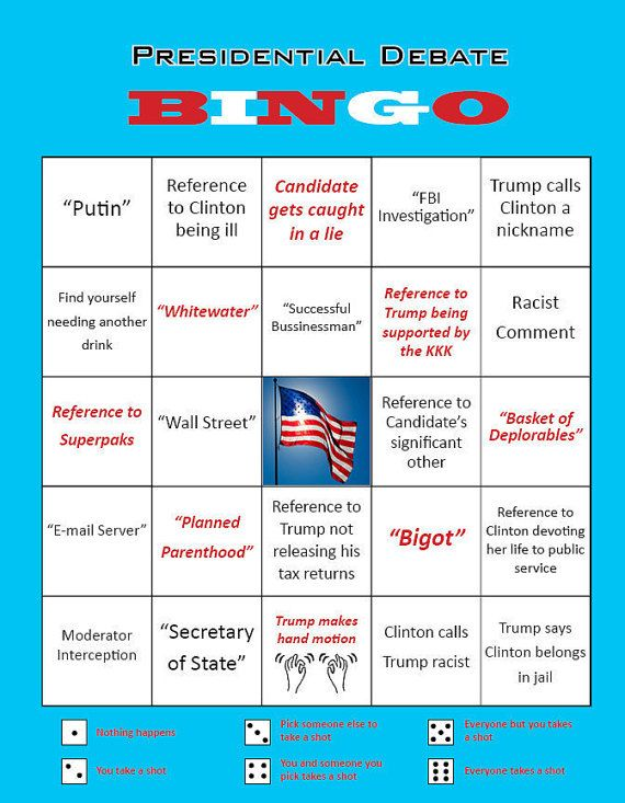 Need a way to make the 2016 Presidential Debates bearable? There is an answer! Presidential Debate Bingo is a drinking game for up to seven people, where each Bingo tile features a phrase, general topic, or action that is likely to occur during a Presidential Debate. Every time a player gets a tile, they have to take a shot. But wait, theres more!  Some tiles have red lettering. When a player gets one of these tiles, they have to roll a dice. Depending on the number rolled, the player will…