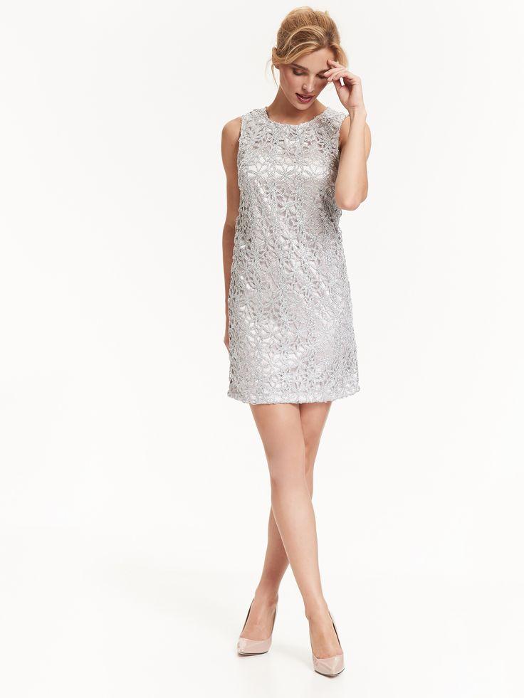 Top Secret sukienka na wesele srebrna mini silver wedding mini dress