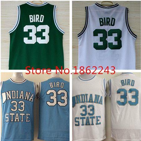 Новые 33 ларри берд-джерси зеленый белый синий штата индиана сикаморес баскетбольная майка вышивка логотипов размер s,ML Xl, Xxl, Xxxl