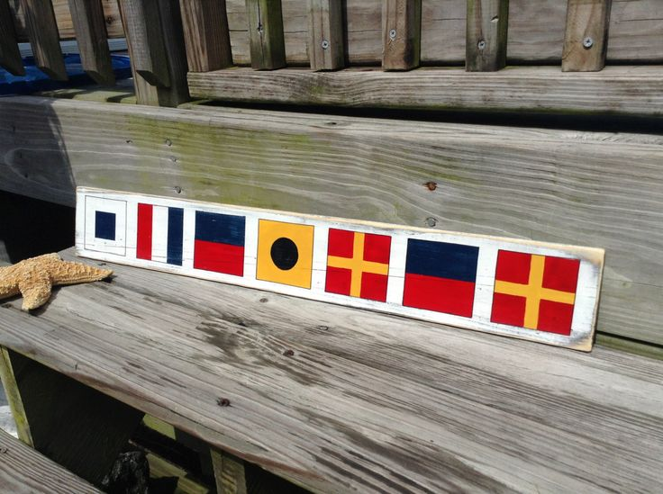 Nautical Sign Custom Code Flags Beach Coastal Decor Nautical Nursery by justbeachyshop on Etsy https://www.etsy.com/listing/104719668/nautical-sign-custom-code-flags-beach