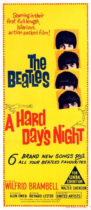 The Beatles A Hard Days Night 1961 - original vintage movie poster for the British music comedy A Hard Day's Night with The Beatles directed by Richard Lester also starring Wilfrid Brambell listed on AntikBar.co.uk
