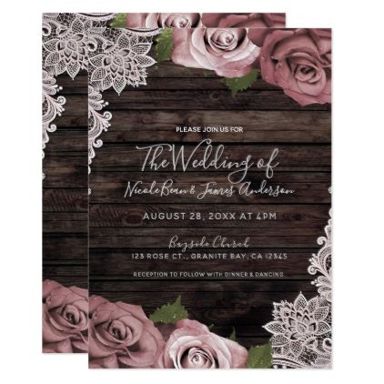 Dusty Pink Floral Roses Rustic Wood & Lace Wedding Card - rose style gifts diy customize special roses flowers