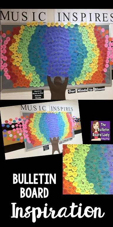 Music Inspires Bulletin Board.  This music advocacy bulletin board is a great way to included EVERYONE in your building!  Read about how to put this display together and inspire your school from the Bulletin Board Lady.  Great for Music in Our Schools Month or any time.  MIOSM