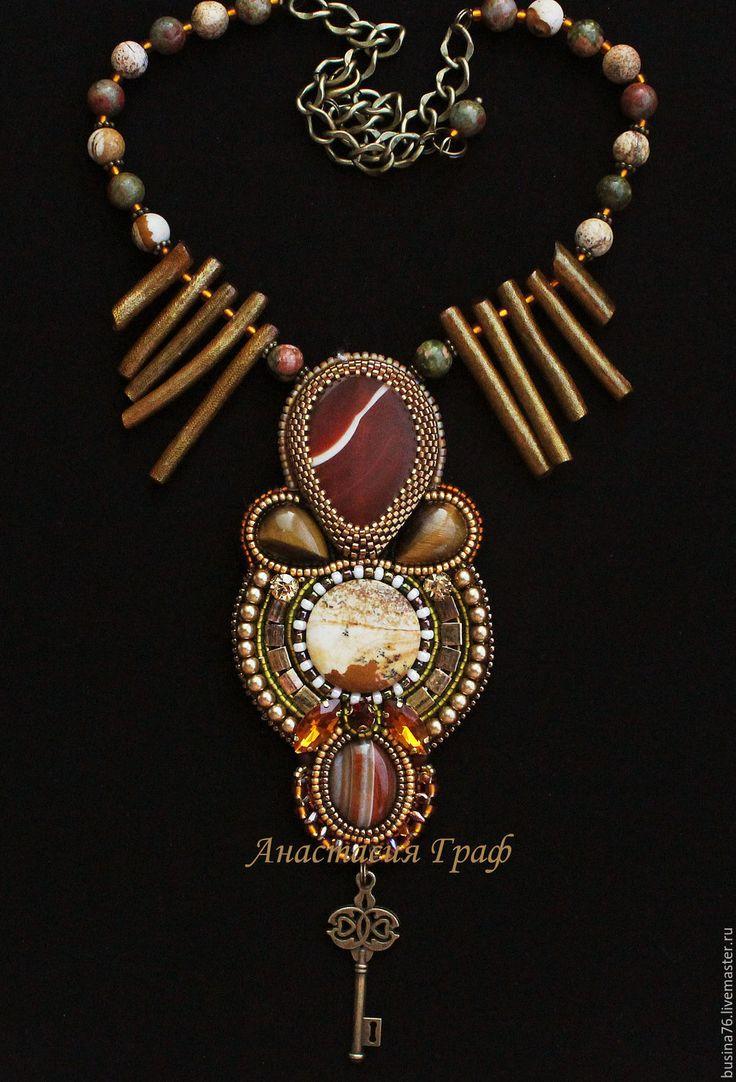 Купить Кулон Ключ от Миэрина (агат, яшма, коралл, тигровый глаз) - коричневое колье, оливковый