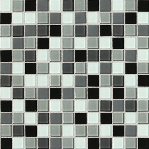 Daltile isis pewter blend glass mosaic wall tile 1x1 for Custom cut glass home depot
