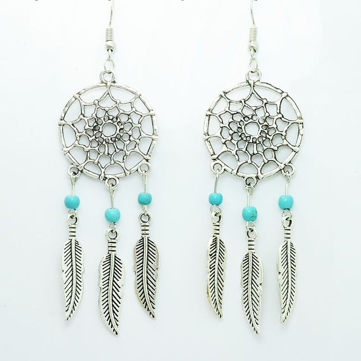 New fashion jewelry vintage silver plated Dream catcher drop dangle earring gift for women girl E2835