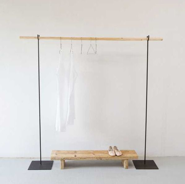 So simple, so pretty - steel and wood clothes rack and wooden shoe bench