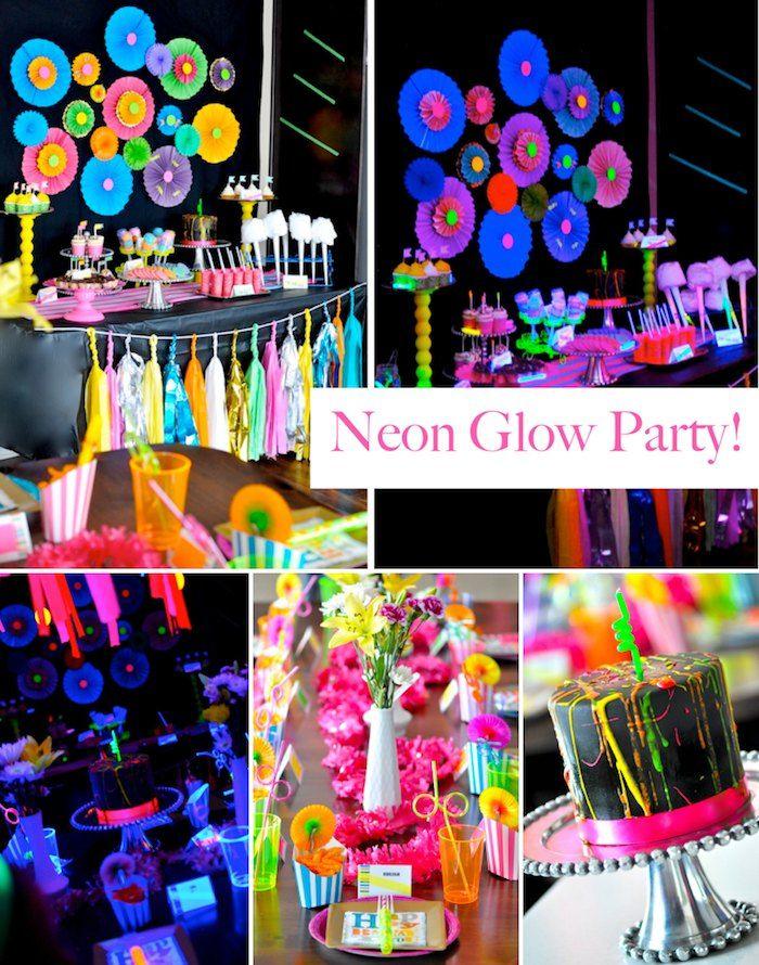 Neon Glow In The Dark Teen Birthday Party {Dance, Girl