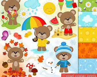 4 Seasons Bear - Clip art and digital paper set - Seasons clipart