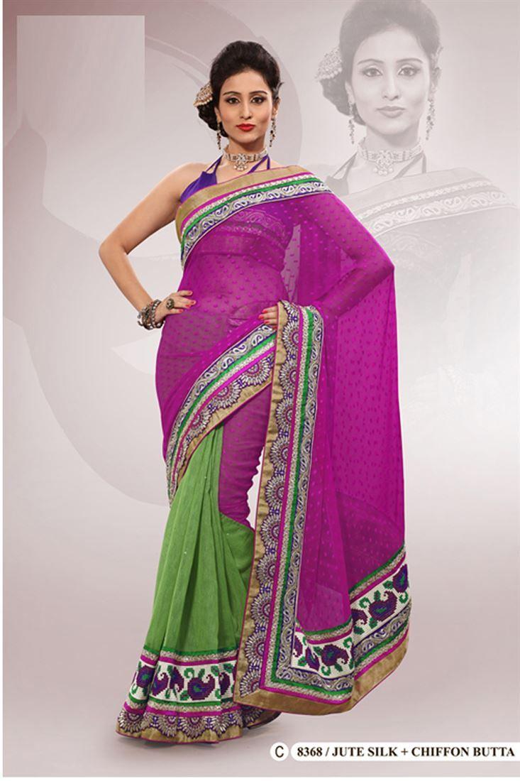 Purple Jute Silk,Chiffon Embroidered Saree With Blouse