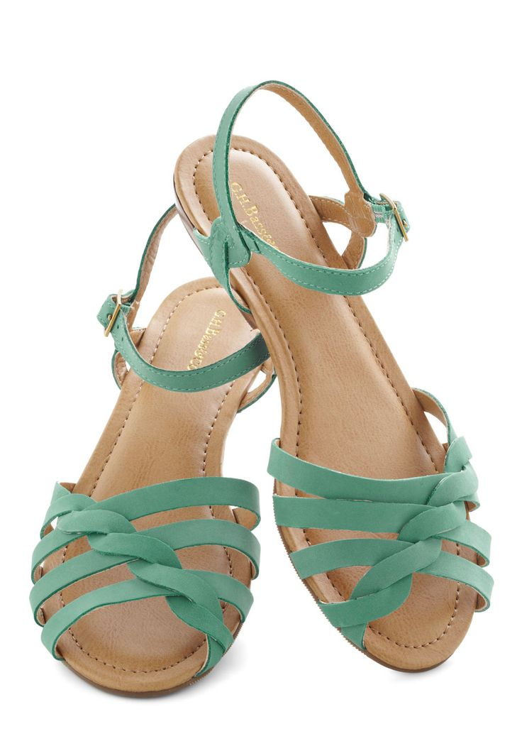 Sealed with a Twist Sandal in Teal by Bass - Leather, Low, Green, Braided, Summer, Solid, Casual, Vintage Inspired