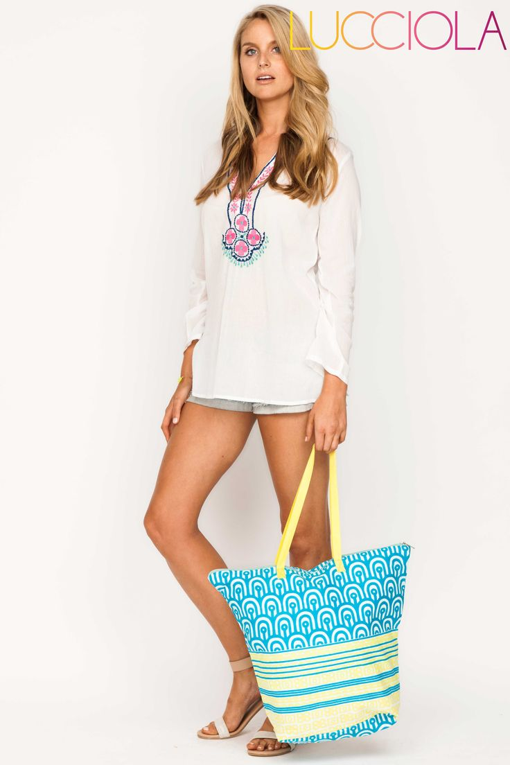 The perfect bag for Summer days on the beach! Featuring a top zip for extra security! ONLY $22.95! https://goo.gl/B1zuvj