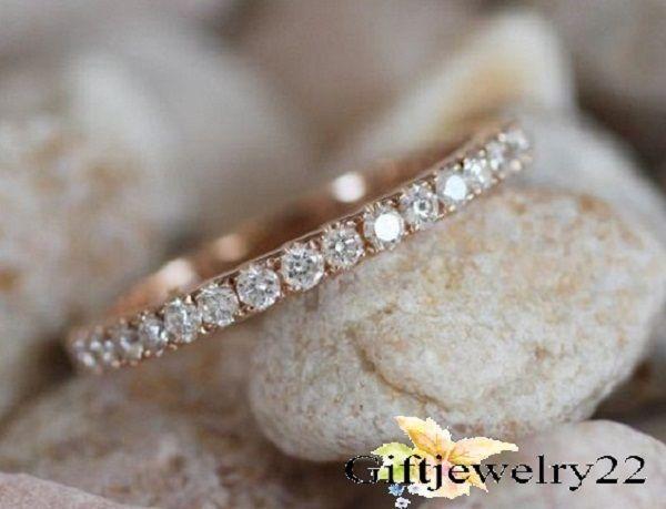 0.50 CT. 14K Rose Gold Filled Brilliant Diamond Wedding  Anniversary Band Ring #WeddingBandRing