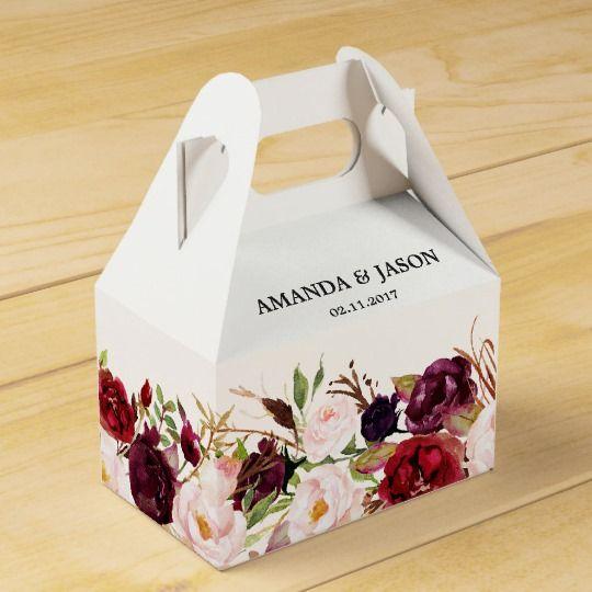Burgundy Red Floral Rustic Boho Wedding Favor Box | Zazzle.com