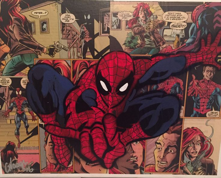 Handmade Original Amazing Spider-man Comic Book Spray Painting