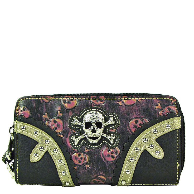 Hot Pink Rhinestone Skull Double Zipper Wallet Country Western Fashion Bling
