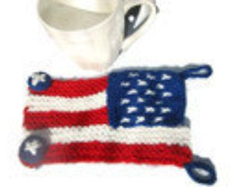 American Flag Cozy Patriotic cozy cup 4th of july 4th by KnitSew4U