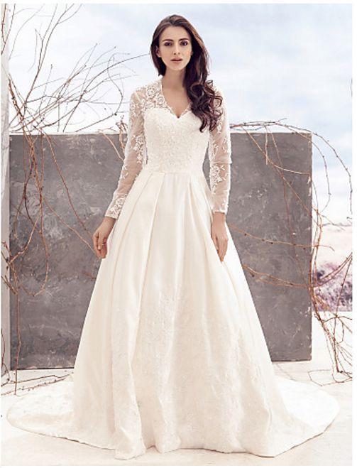 PLUS SIZE LING SLEEVE LACE BOHO WEDDING A LINE PLUS SIZE WEDDING DRESS